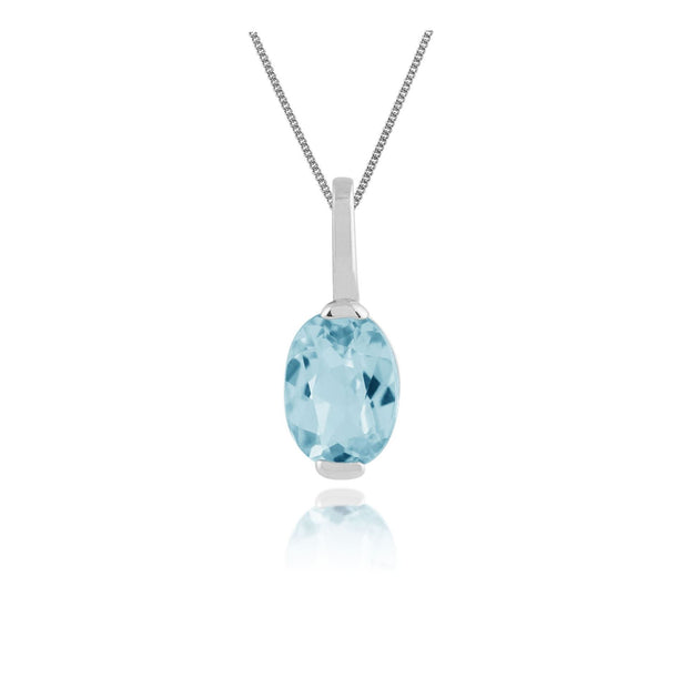 Classic Blue Topaz Pendant on Chain Image 1