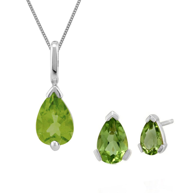 Classic Peridot Single Stone Stud Earrings & Pendant Set Image 1