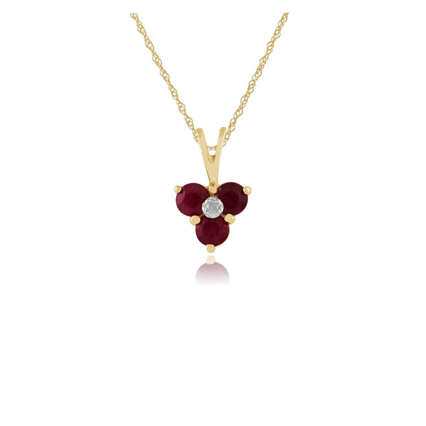 Classic Ruby & Diamond Cluster Pendant Image 1