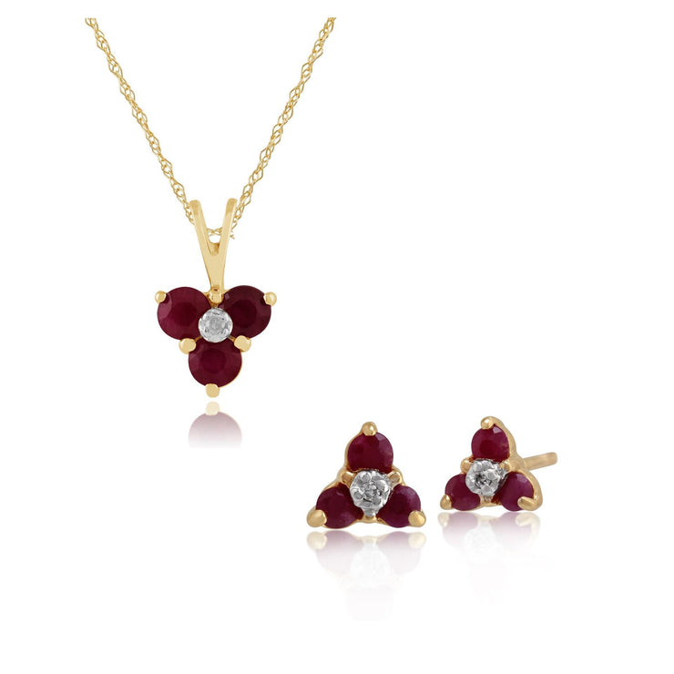 Floral Ruby & Diamond Flower Cluster Stud Earrings & Pendant Set Image 1