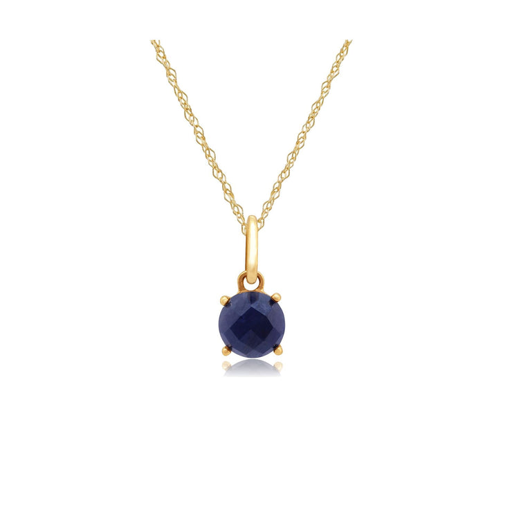 Classic Sapphire Checkerboard Pendant on Chain Image 1