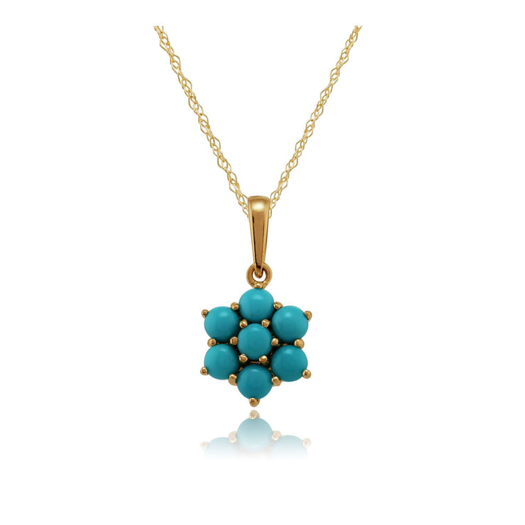 Floral Turquoise Pendant on Chain Image 1