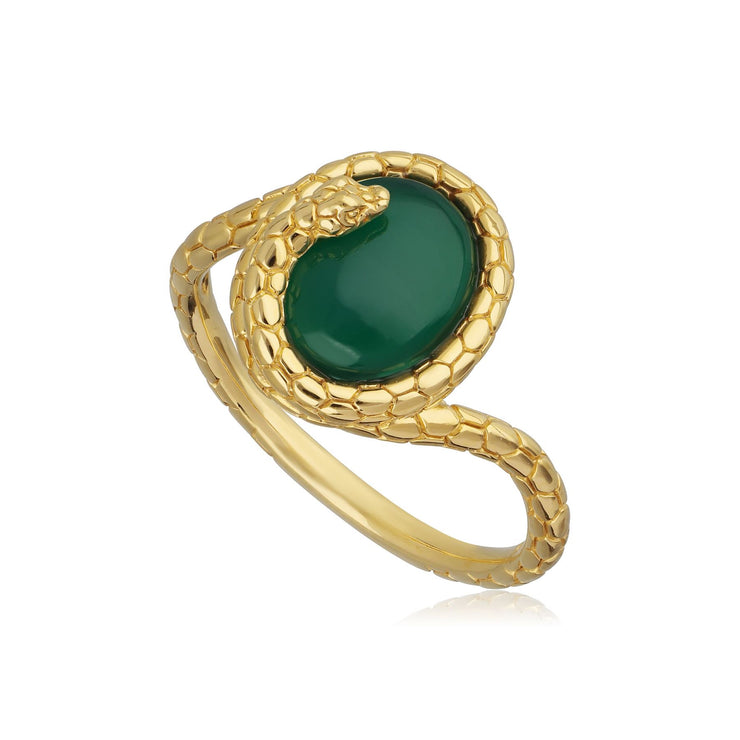 Dyed Green Chalcedony Winding Snake Ring