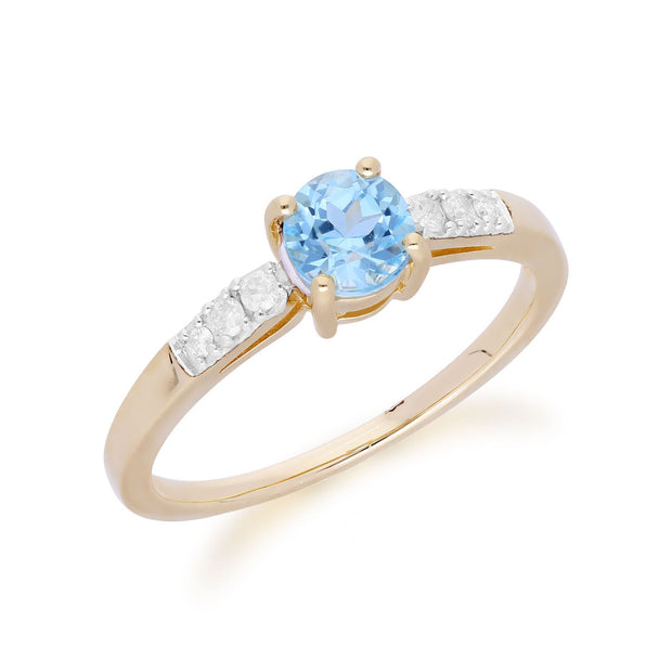 Gemondo 9ct Yellow Gold Blue Topaz & Diamond Round Cut Ring