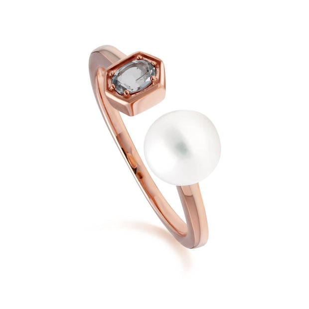 Modern Pearl & Aquamarine Open Ring in Rose Gold Plated Sterling Silver