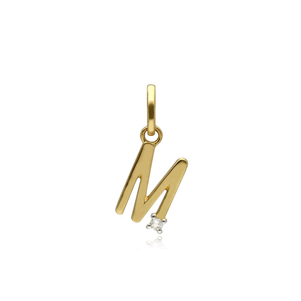 Initial M Diamond Letter Necklace in 9ct Yellow Gold