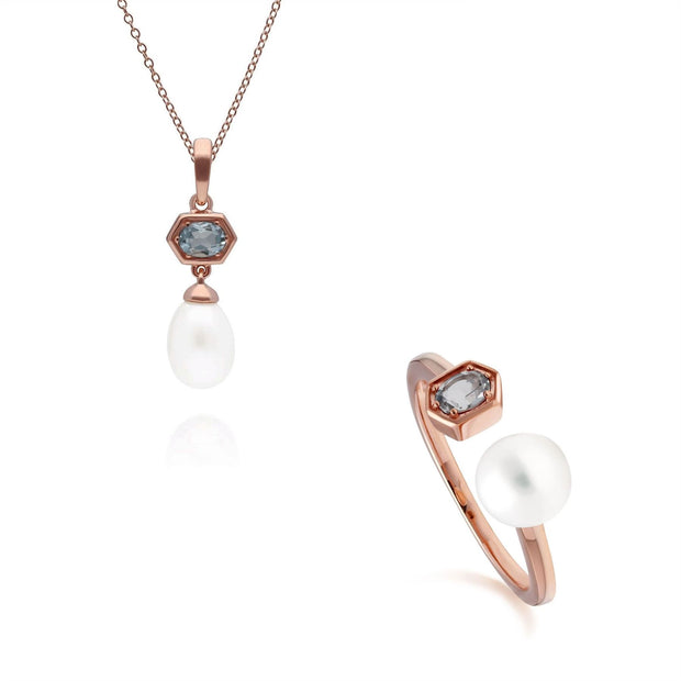Modern Pearl & Aquamarine Pendant & Ring Set in Rose Gold Plated Sterling Silver