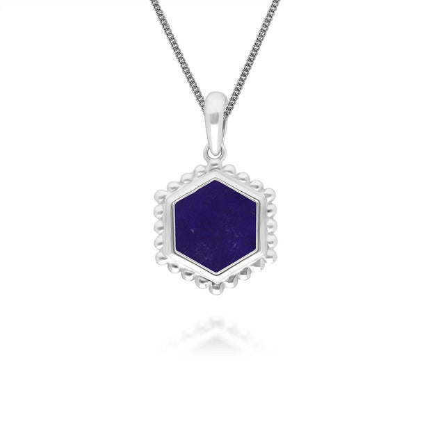 Lapis Lazuli Flat Slice Hex Pendant in Sterling Silver