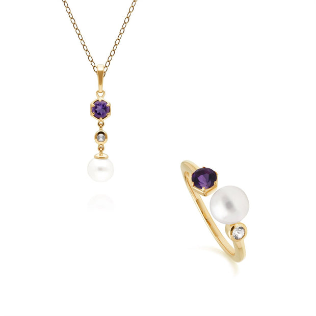 Modern Pearl, Topaz & Amethyst Pendant & Ring Set in Gold Plated Sterling Silver
