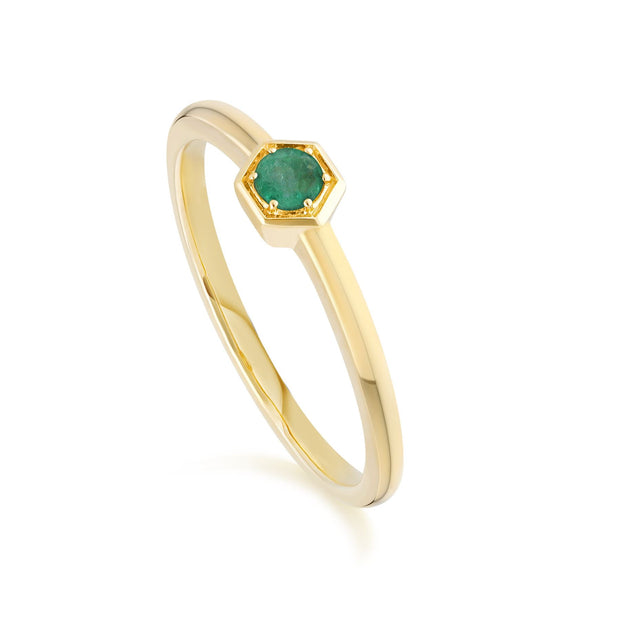 Honeycomb Inspired Emerald Solitaire Ring in 9ct Yellow Gold
