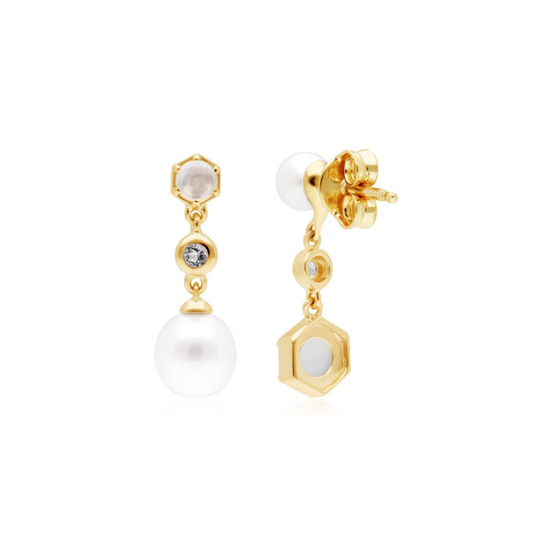 Modern Pearl, Moonstone & Topaz Mismatched Drop Earrings in Gold Plated 925 Sterling Silver