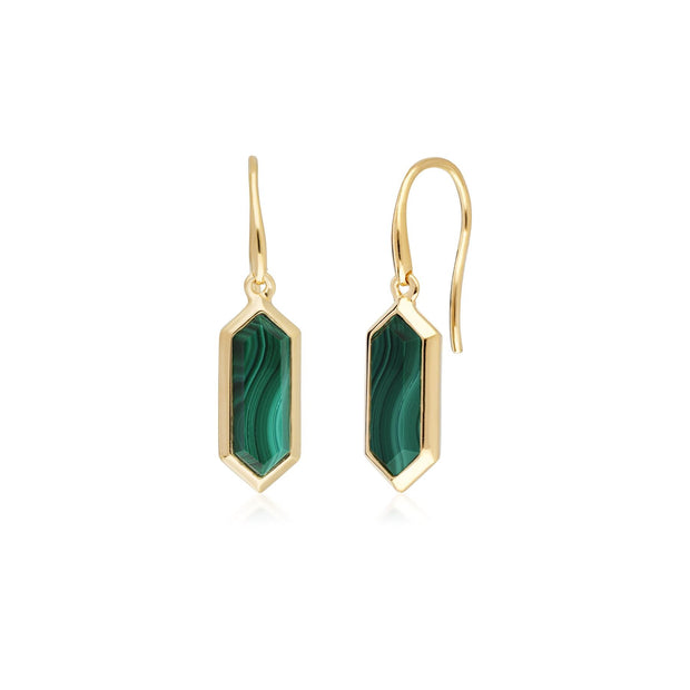 Geometric Hexagon Malachite Drop Earrings in Gold Plated Sterling Silver