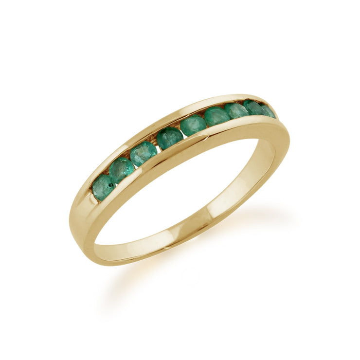 Channel Set Emerald Ring Image 2