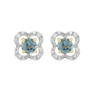 Classic Blue Topaz Stud Earrings & Diamond Floral Ear Jacket Image 1