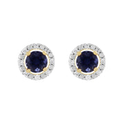 Classic Iolite Stud Earrings & Diamond Round Earrings Jacket Set Image 1