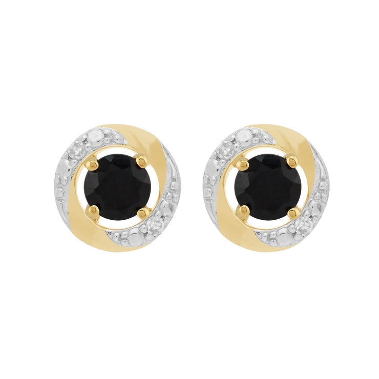 Classic Dark Blue Sapphire Studs & Diamond Halo Ear Jacket Image 1