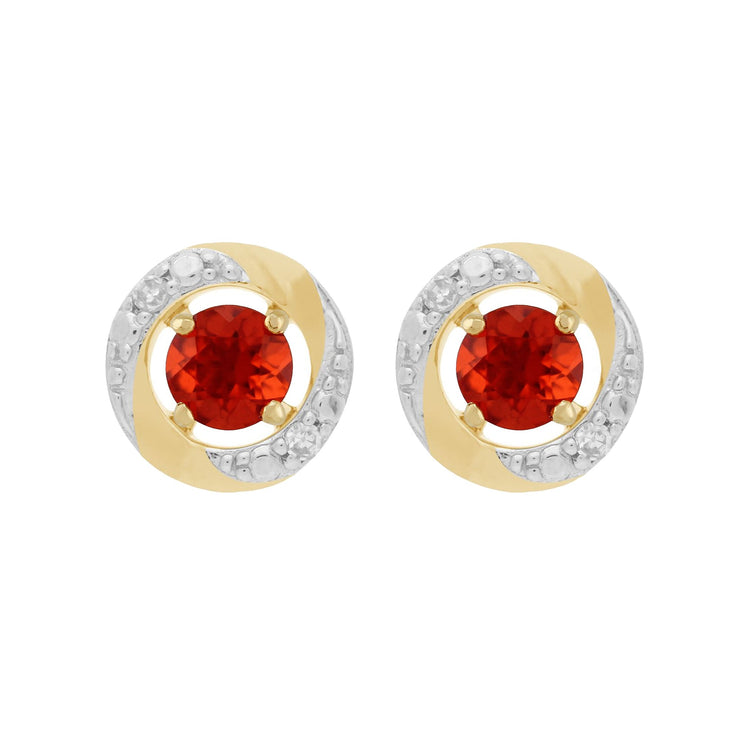 Classic Fire Opal Stud Earrings & Diamond Halo Ear Jacket Image 1
