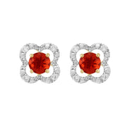 Classic Fire Opal Stud Earrings & Diamond Floral Ear Jacket Image 1