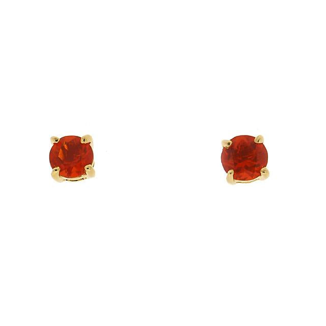 Classic Fire Opal Stud Earrings & Diamond Floral Ear Jacket Image 2