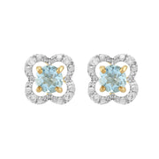 Classic Aquamarine Stud Earrings & Diamond Floral Ear Jacket Image 1