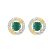Classic Emerald Stud Earrings & Diamond Halo Ear Jacket Image 1