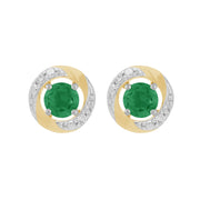 9ct White Gold Emerald Stud Earrings & Diamond Halo Ear Jacket Image 1