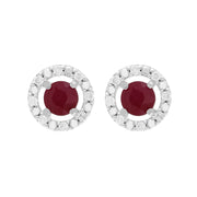 Classic Ruby Stud Earrings & Diamond Round Ear Jacket Image 1
