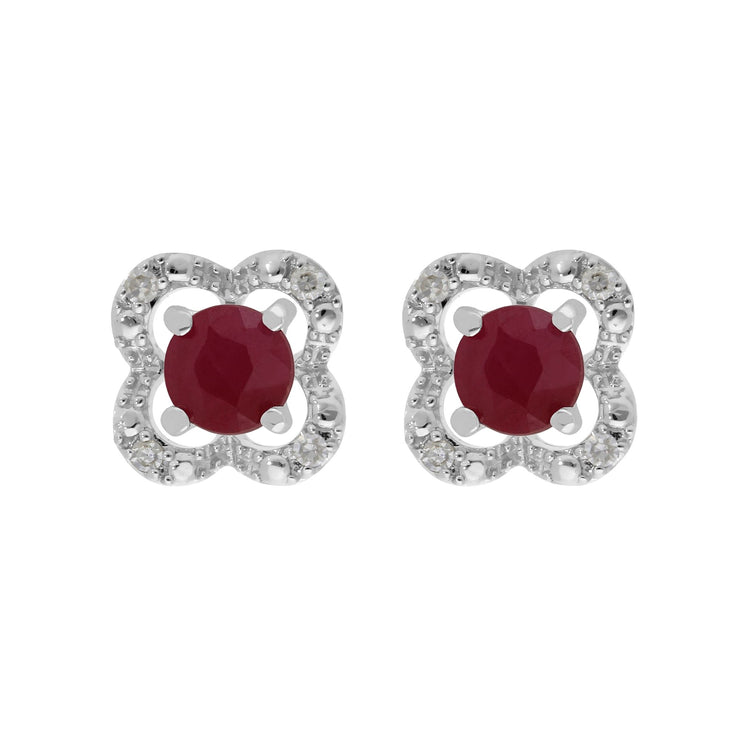 Classic Ruby Stud Earrings & Diamond Flower Ear Jacket Image 1