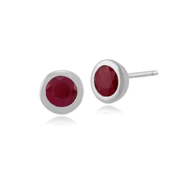 Classic Round Ruby Bezel Stud Earrings Image 1