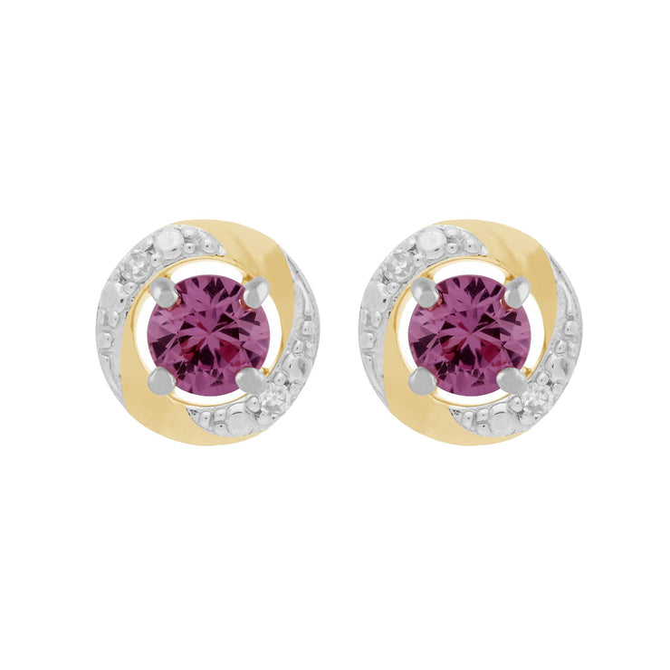 9ct White Gold Pink Sapphire Stud Earrings & Diamond Halo Ear Jacket Image 1