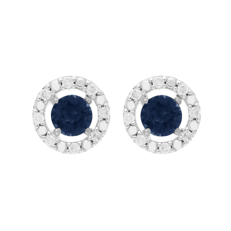 Classic Blue Sapphire Stud Earrings and Diamond Round Jacket Image 1