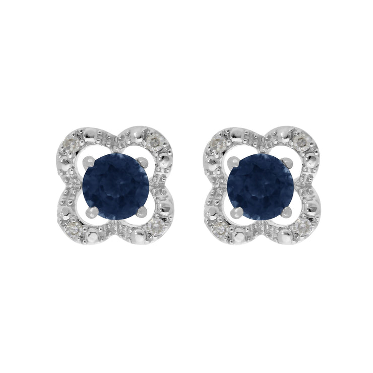 Classic Blue Sapphire Studs & Diamond Flower Ear Jacket Image 1