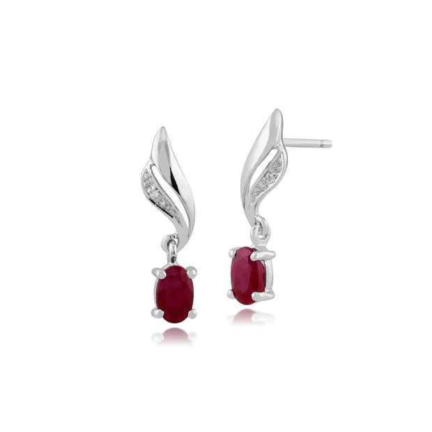 Classic Ruby & Diamond Twist Drop Earrings Image 1