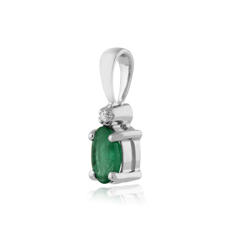 Classic Emerald & Diamond Stud Earrings & Pendant Set Image 5