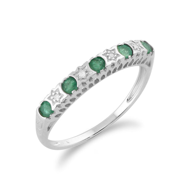 Emerald & Diamond Half Eternity Ring Image 2