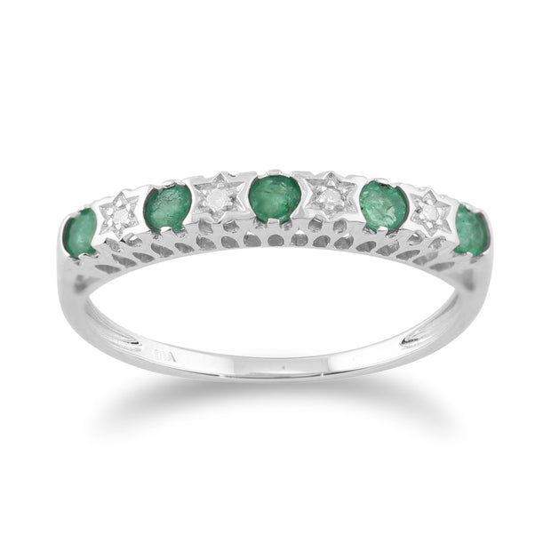 Classic Emerald & Diamond Eternity Ring and Hoop Earrings Set Image 2