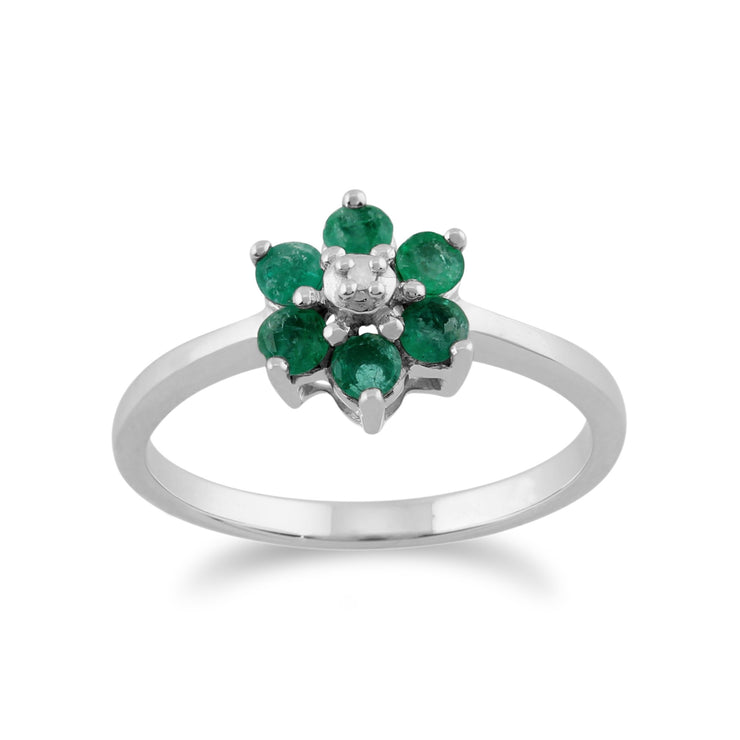 Emerald & Diamond Flower Ring Image 1