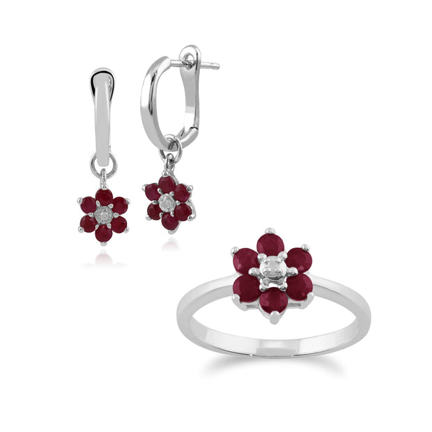 Floral Ruby & Diamond Flower Drop Earrings & Ring Set Image 1