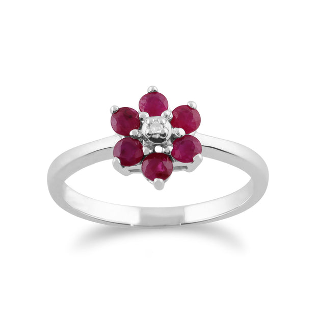 Floral Ruby & Diamond Flower Drop Earrings & Ring Set Image 3