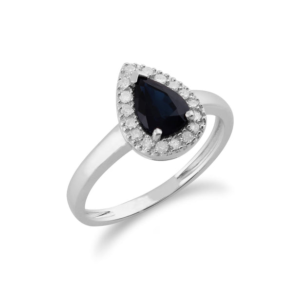 Gemondo 9ct White Gold 0.85ct Blue Sapphire & Diamond Pear Cluster Ring Image 2