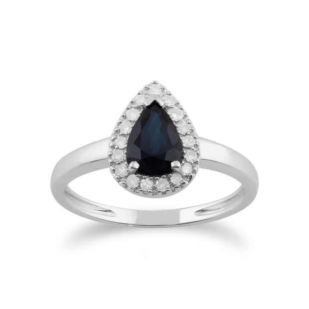 Gemondo 9ct White Gold 0.85ct Blue Sapphire & Diamond Pear Cluster Ring Image 1