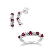 Classic Ruby & Diamond Half Hoop Earrings & Half Eternity Ring Set Image 1