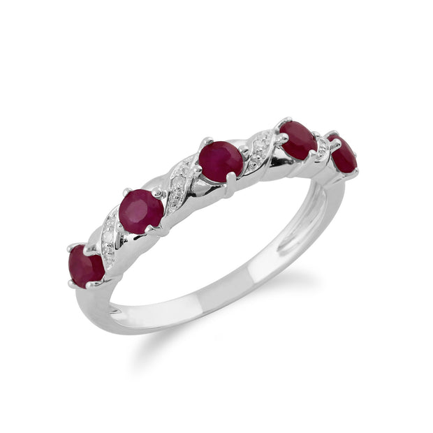 Ruby & Diamond Half Eternity Ring Image 2