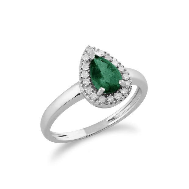 Emerald & Diamond Cluster Ring Image 1