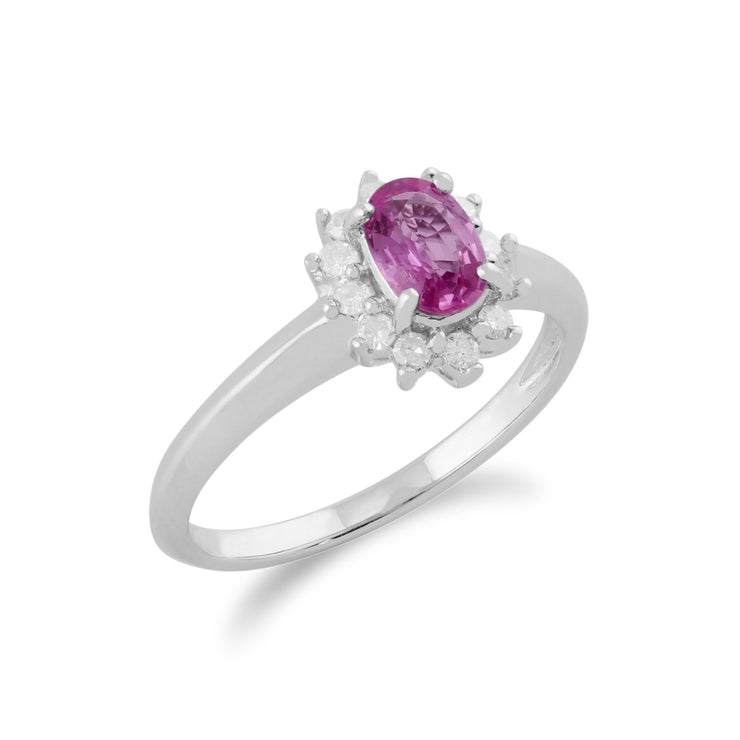 Pink Sapphire & Diamond Cluster Ring Image 2