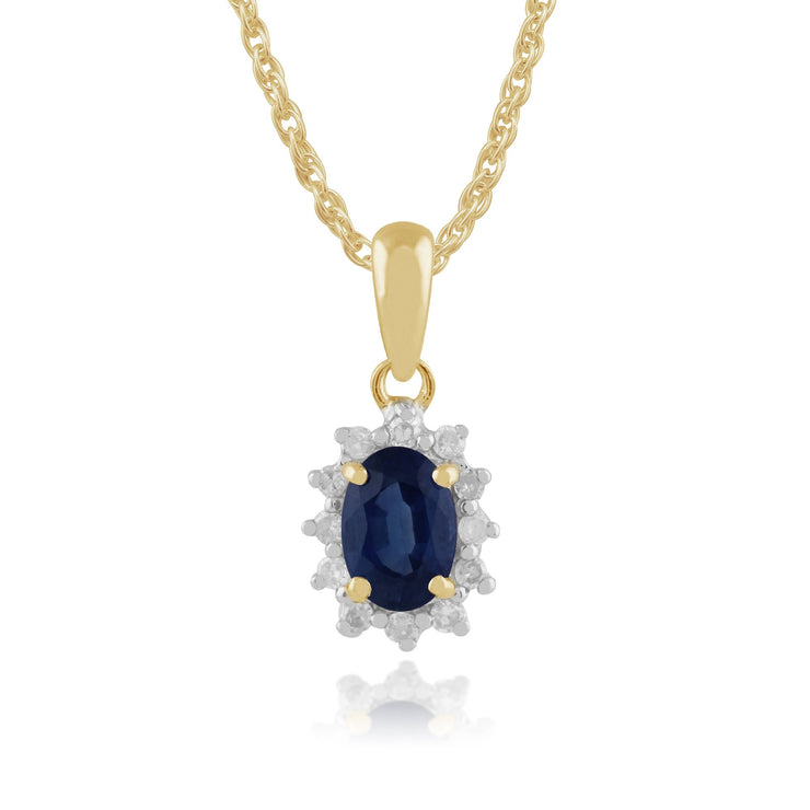 Classic Sapphire & Diamond Halo Stud Earrings & Pendant Set Image 3