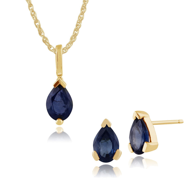Classic Sapphire Stud Earrings & Pendant Set Image 1
