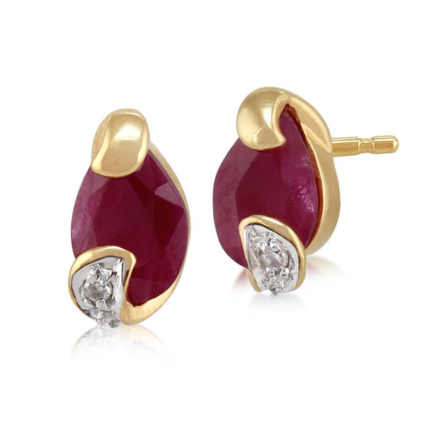 Art Nouveau Ruby & Diamond Stud Earrings Image 1