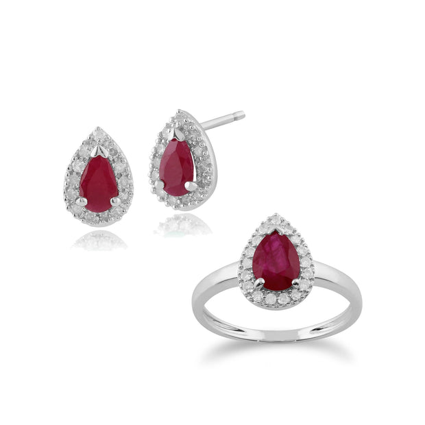 Classic Ruby & Diamond Halo Stud Earrings & Ring Set Image 1
