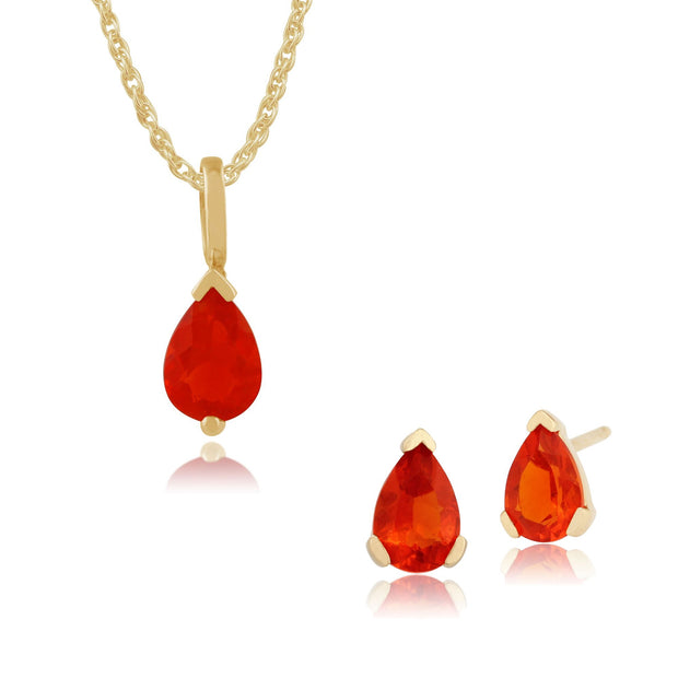 Classic Fire opal Stud Earrings & Pendant Set Image 1
